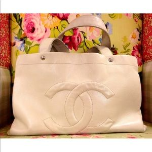 CHANEL Bags - Chanel Off White Caviar Leather Tote Bag Purse